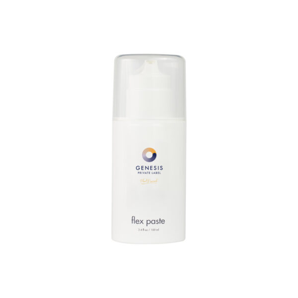 bottle of genesis private label hair styling paste